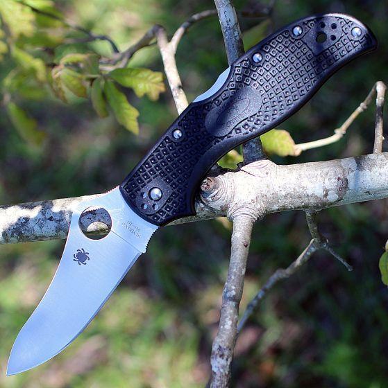 Фото 7 - Складной нож Stretch 2 - Spyderco 90PBK2, сталь VG-10 Satin Plain, рукоять термопластик FRN, чёрный