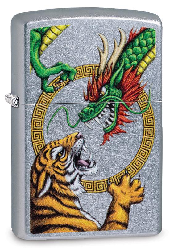 Зажигалка ZIPPO Dragon Design с покрытием Street Chrome™, латунь/сталь, серебристая, 36x12x56 мм