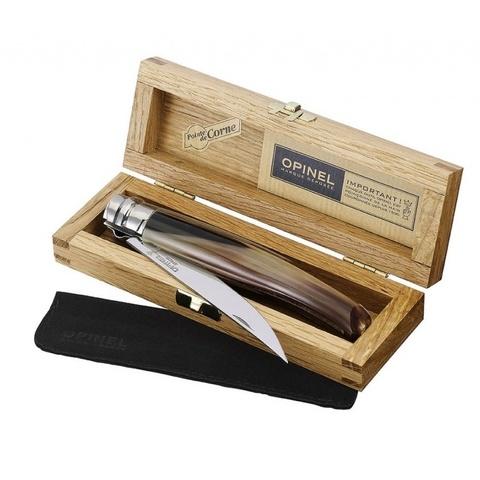 Нож складной филейный Opinel №10 VRI Folding Slim Blond Horn в деревянном кейсе - Nozhikov.ru