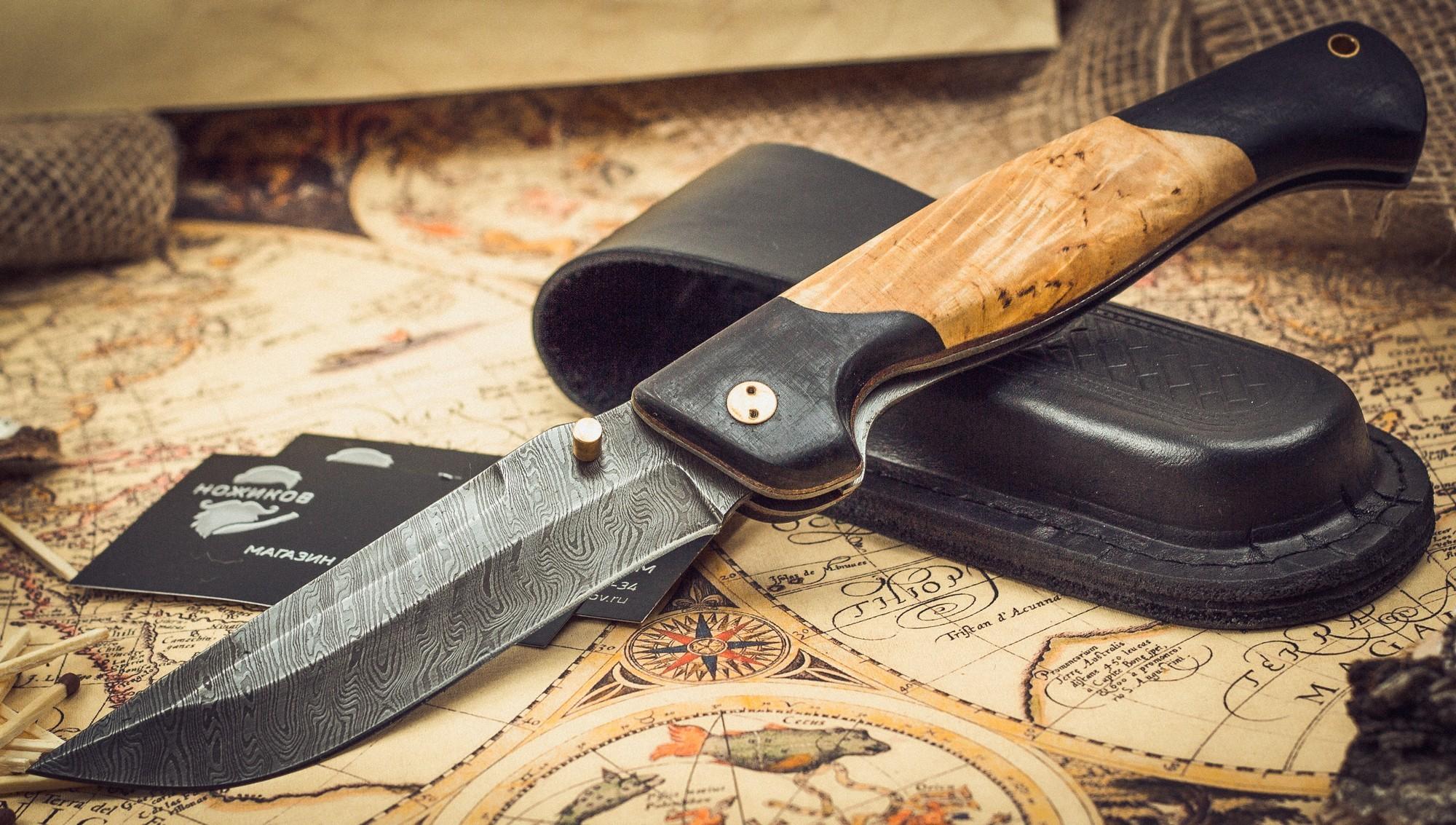 Фото 6 - Складной нож Актай-2, дамаск, карельская береза от Марычев