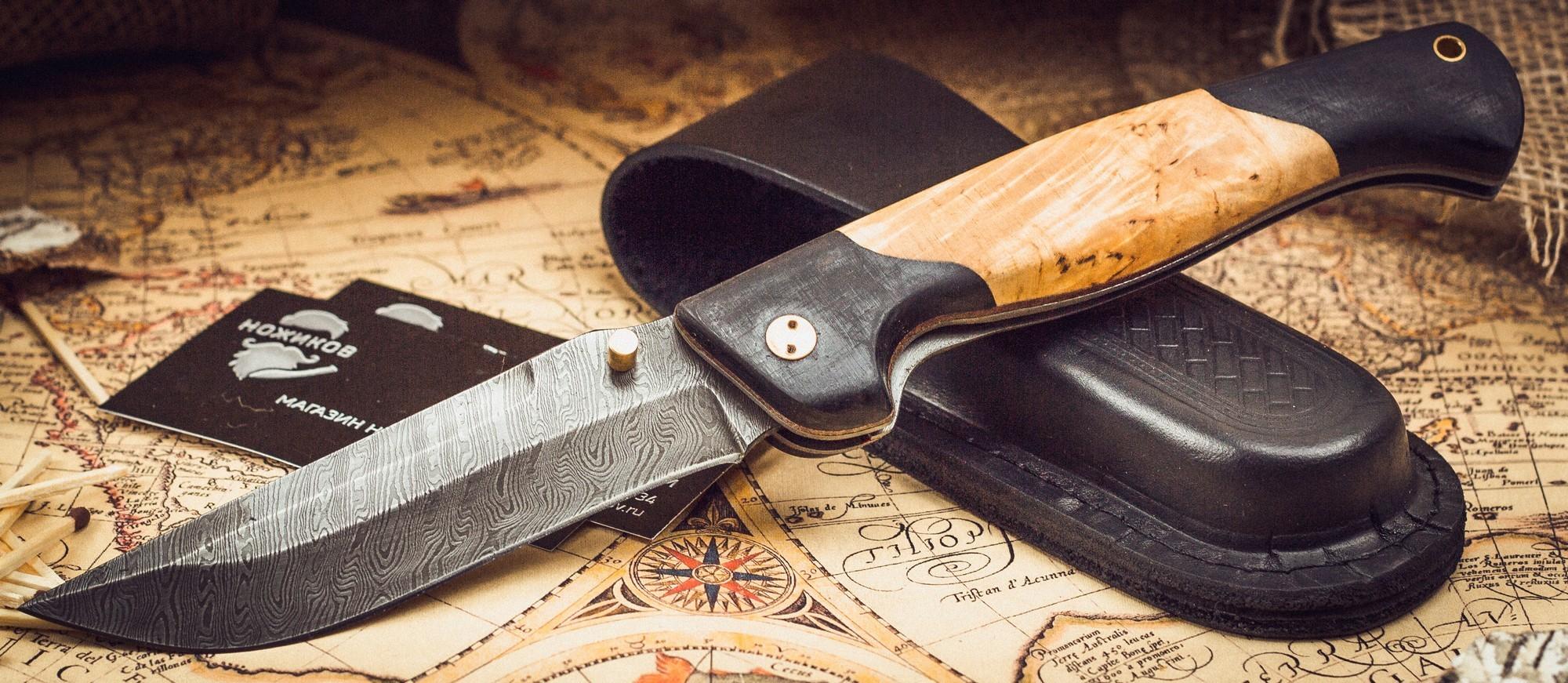 Фото 8 - Складной нож Актай-2, дамаск, карельская береза от Марычев