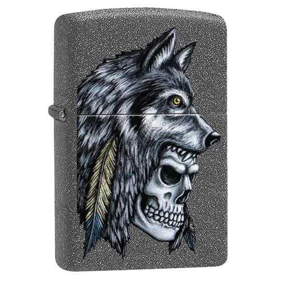 Зажигалка ZIPPO Wolf Skull с покрытием Iron Stone™, латунь/сталь, серая, матовая, 36x12x56 мм