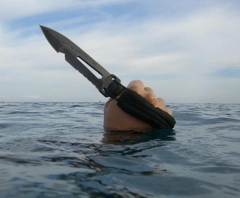Нож-кинжал пловца Extrema Ratio Ultramarine Con Asola, сталь Böhler N690, рукоять полиамид. Вид 4