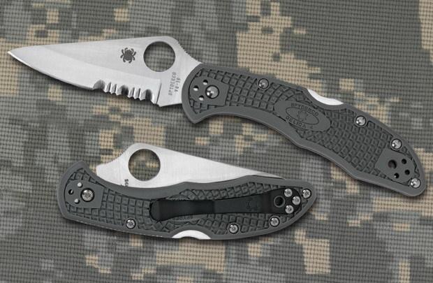Фото 10 - Складной нож Delica 4 - Spyderco C11PSFG, сталь VG-10 Satin Plain/Serrated, рукоять термопластик FRN зелёная (foliage green)