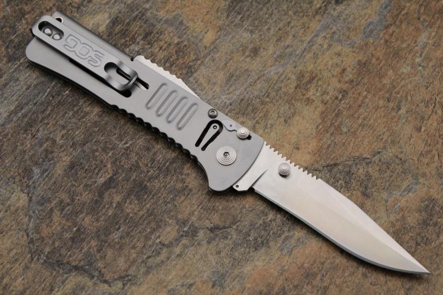 Фото 5 - Складной нож SlimJim - SOG SJ31, сталь AUS-8, рукоять сталь 420, серебристый