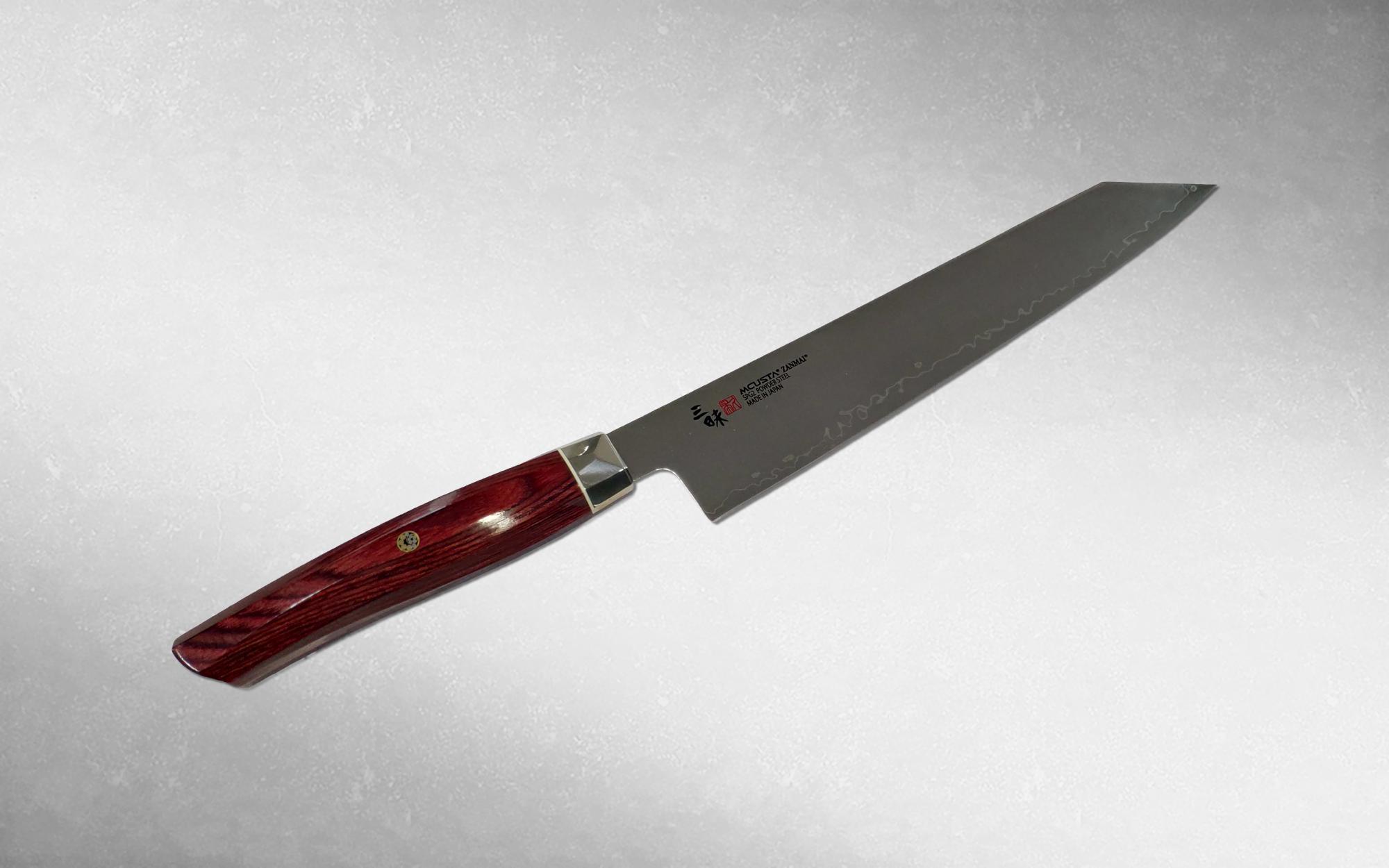 Нож кухонный Шеф Kiritsuke Mcusta Zanmai Revolution 230 мм, Takamura, ZPR-1206G, сталь SPG2, стабилизированная древисина, коричневый