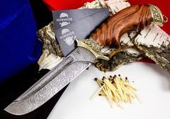 Нож Варяг с резной рукоятью,  дамасская сталь, литье скорпион