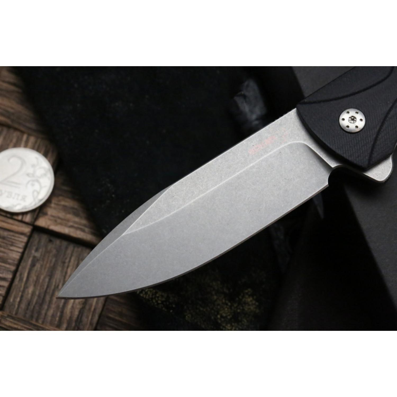 Фото 8 - Нож складной Ridge - Boker Plus 01BO262, сталь D2 Stonewashed, рукоять стеклотекстолит G10/нержавеющая сталь, чёрный