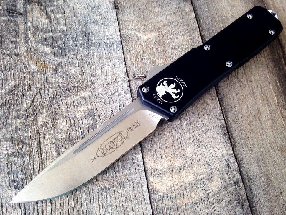 Автоматический фронтальный выкидной нож Microtech Scarab Executive OTF S/E - 176-4, сталь Elmax®, рукоять алюминий