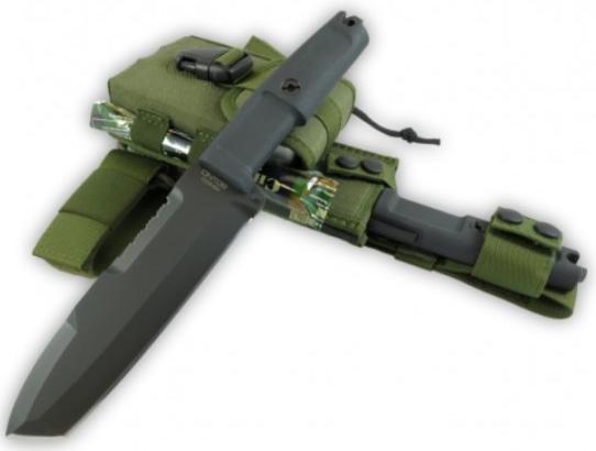 Фото 6 - Нож с фиксированным клинком + набор для выживания Extrema Ratio Ontos, Green Sheath (зеленый чехол), сталь Bhler N690, рукоять прорезиненный форпрен