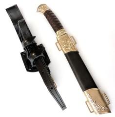 Нож Пластунский с худ. литьем в ножнах, Дамаск