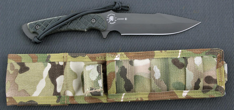 Фото 4 - Нож с фиксированным клинком Horkos (Black SpartaCoat/Black Micarta/Multicamo Sheath) 14.5 см. от Spartan Blades