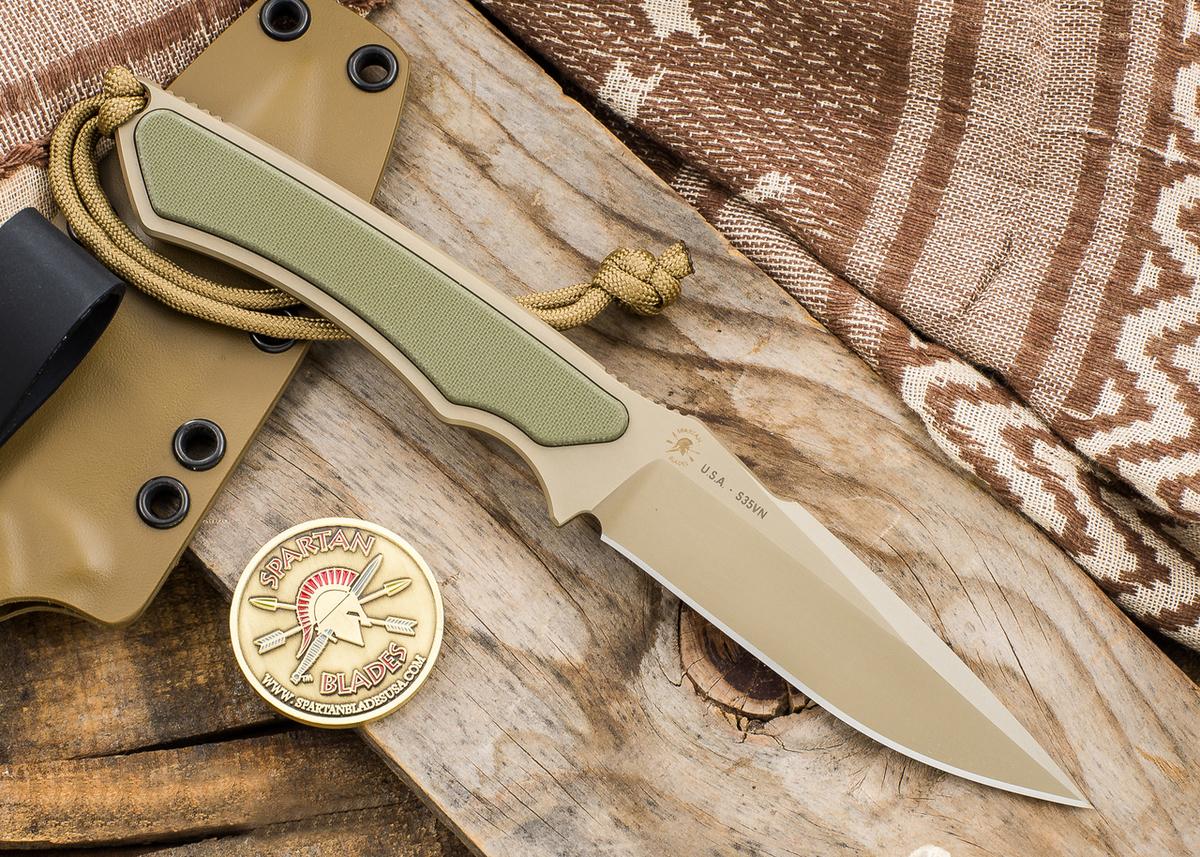 Фото 5 - Нож с фиксированным клинком Spartan Blades Phrike, сталь CPM-S35VN Flat Dark Earth, рукоять зеленый G-10, чехол песочный