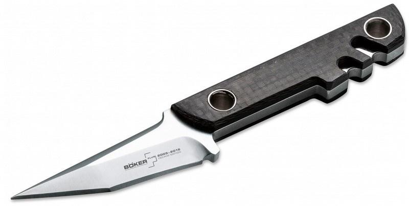 Фото 12 - Нож с фиксированным клинком Boker Plus Mini Slik Decade Edition, сталь VG-10 Satin, рукоять карбон, 02BO150