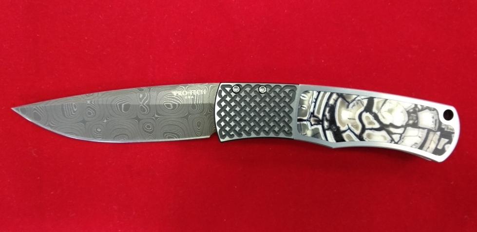 "Автоматический складной нож MAGIC,, Mike ""Whiskers"" Allen Design, Chad Nichols, дамаск, рукоять сталь 412"