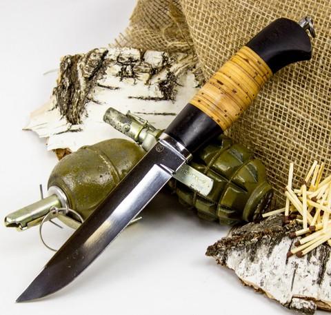 Нож Засапожный-Т, сталь 95х18, береста. Вид 1