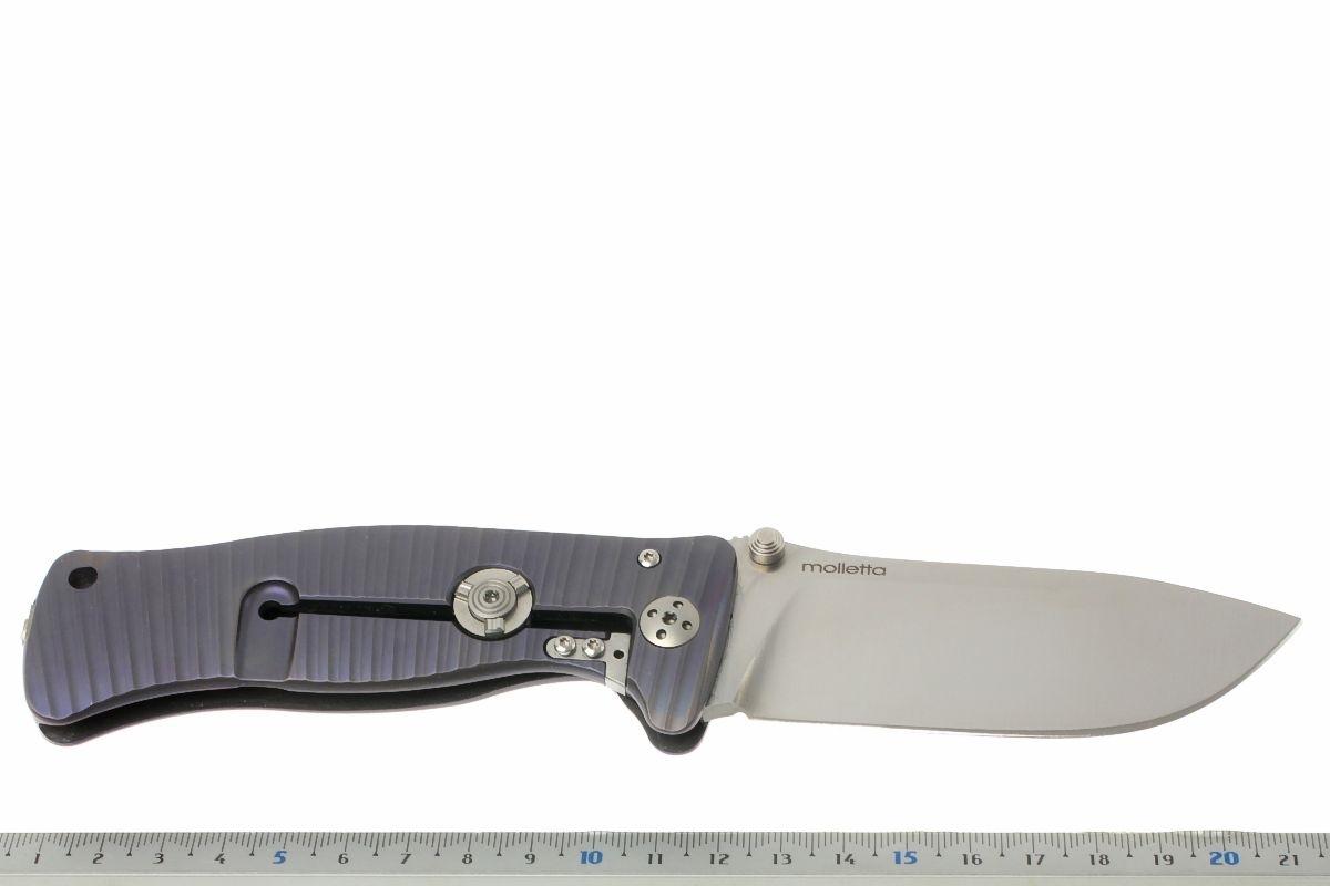 Фото 6 - Нож складной LionSteel SR1 V (VIOLET), сталь Sleipner Satin Finish, рукоять титан по технологии SOLID®, фиолетовый от Lion Steel
