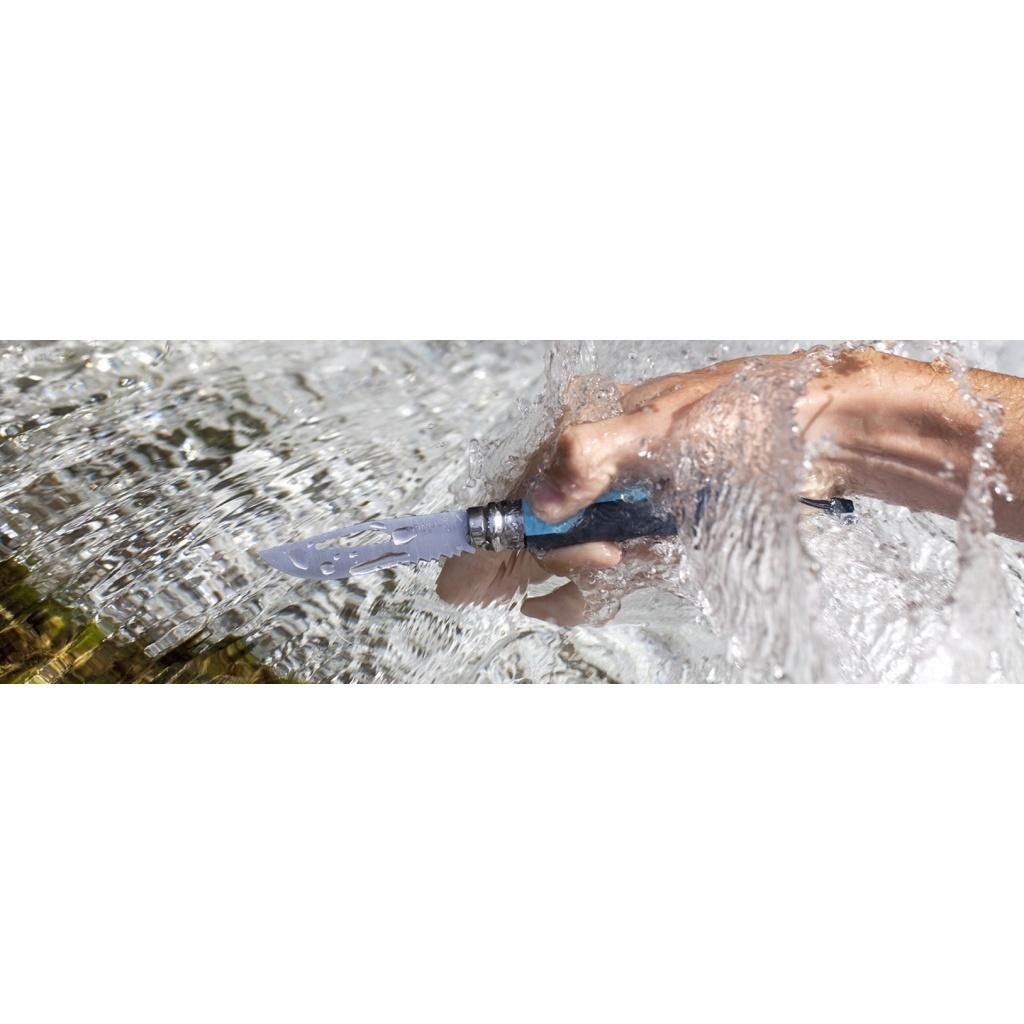 Фото 7 - Складной Нож Opinel №8 VRI OUTDOOR EARTH, нержавеющая сталь Sandvik 12C27, синий, 001576