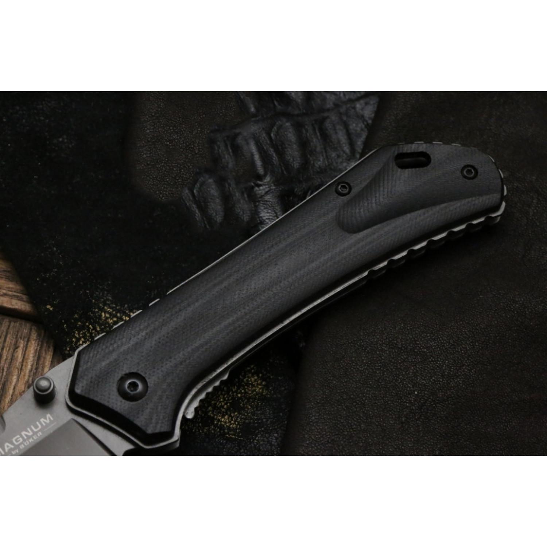 Фото 10 - Складной нож Magnum Nero - Boker 01RY964, сталь 440A Titanium Nitride, рукоять стеклотекстолит G10, серый