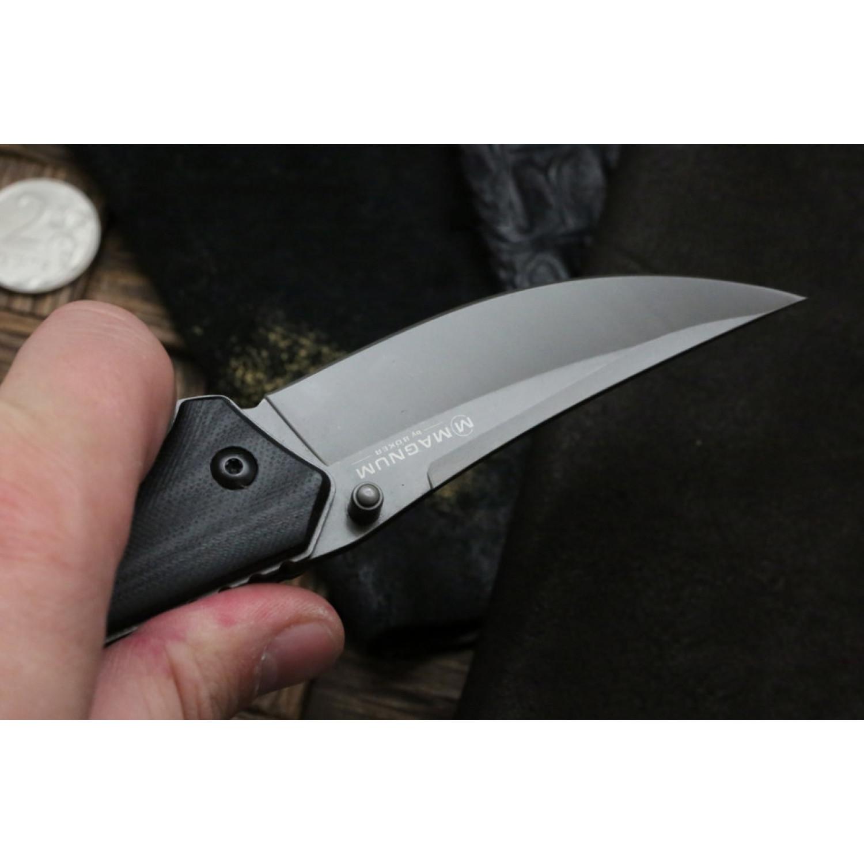 Фото 7 - Складной нож Magnum Nero - Boker 01RY964, сталь 440A Titanium Nitride, рукоять стеклотекстолит G10, серый