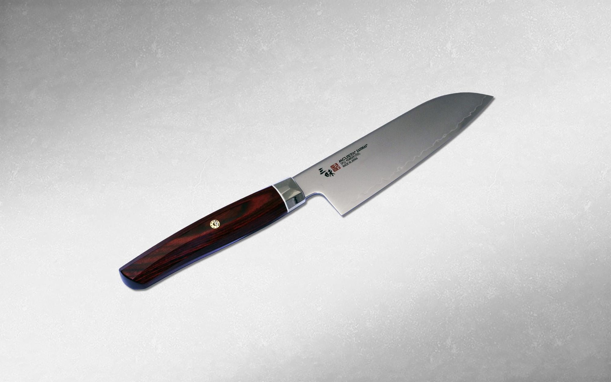 Нож кухонный Сантоку Mcusta Zanmai Revolution 150 мм, Takamura, ZPR-1215G, сталь SPG2, стабилизированная древисина, коричневый