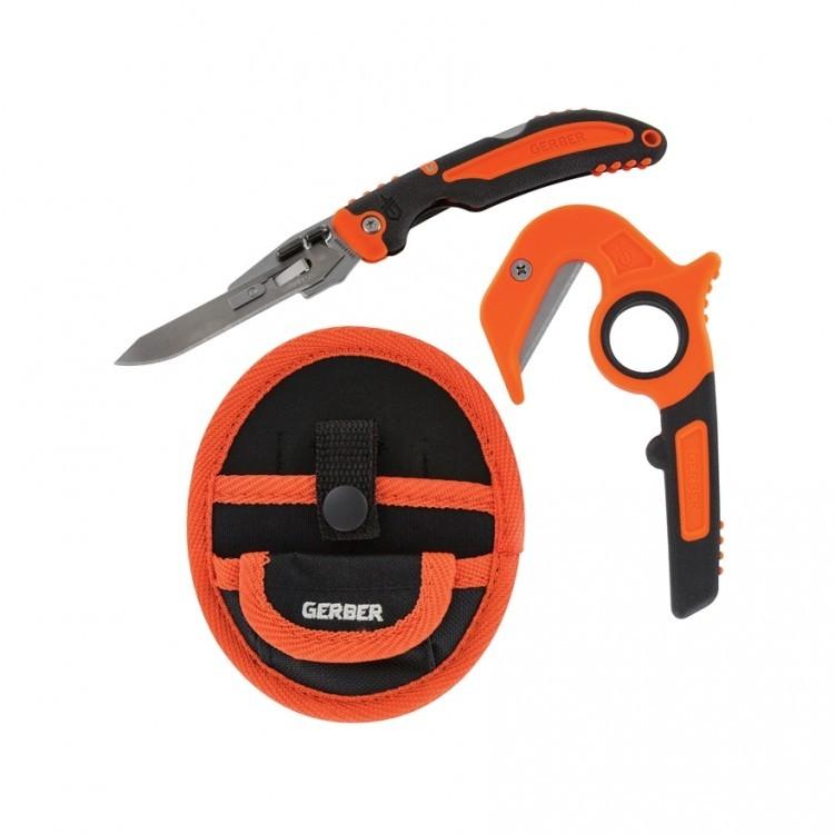 Набор ножей Gerber Vital Combo - стропорез Zip и Pocket Folder, сталь 420HC, рукоять пластик/резина, оранжевый