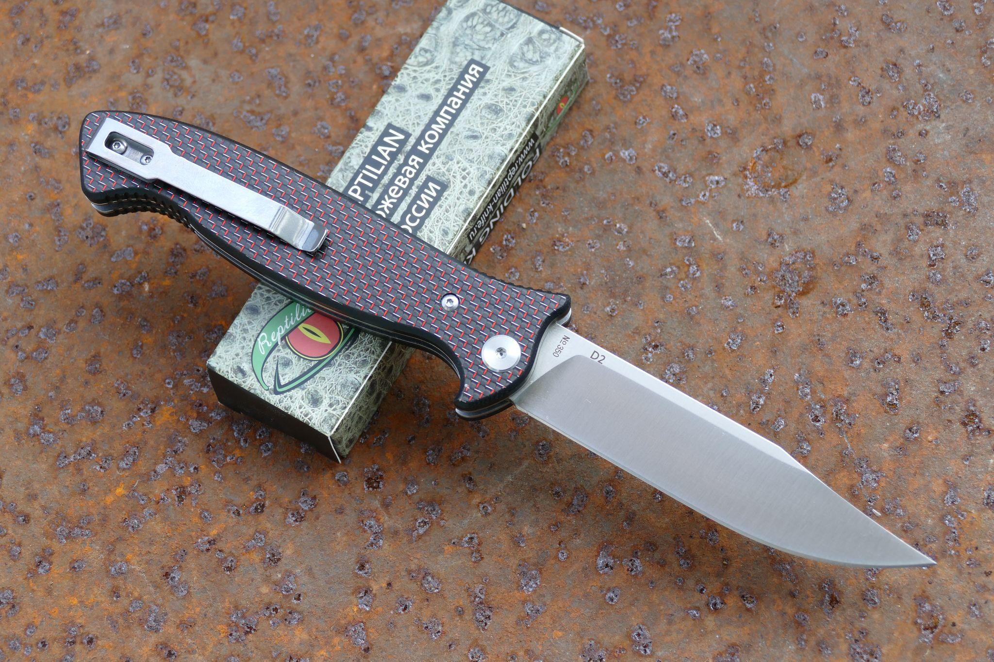 Фото 7 - Складной Нож Разведчика, карбон красный от Reptilian