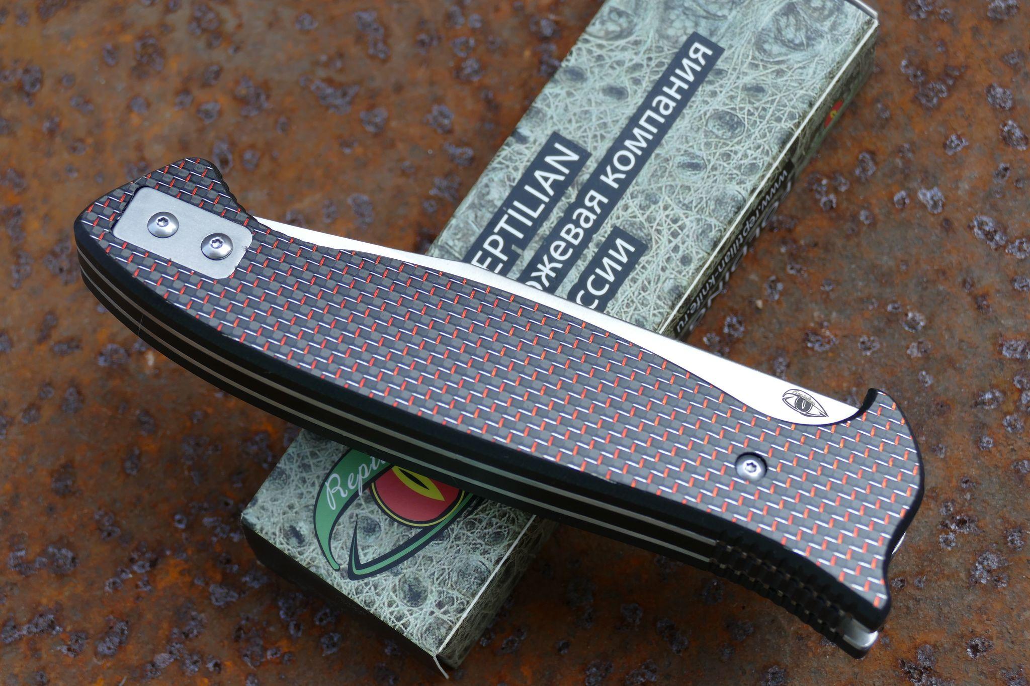 Фото 9 - Складной Нож Разведчика, карбон красный от Reptilian