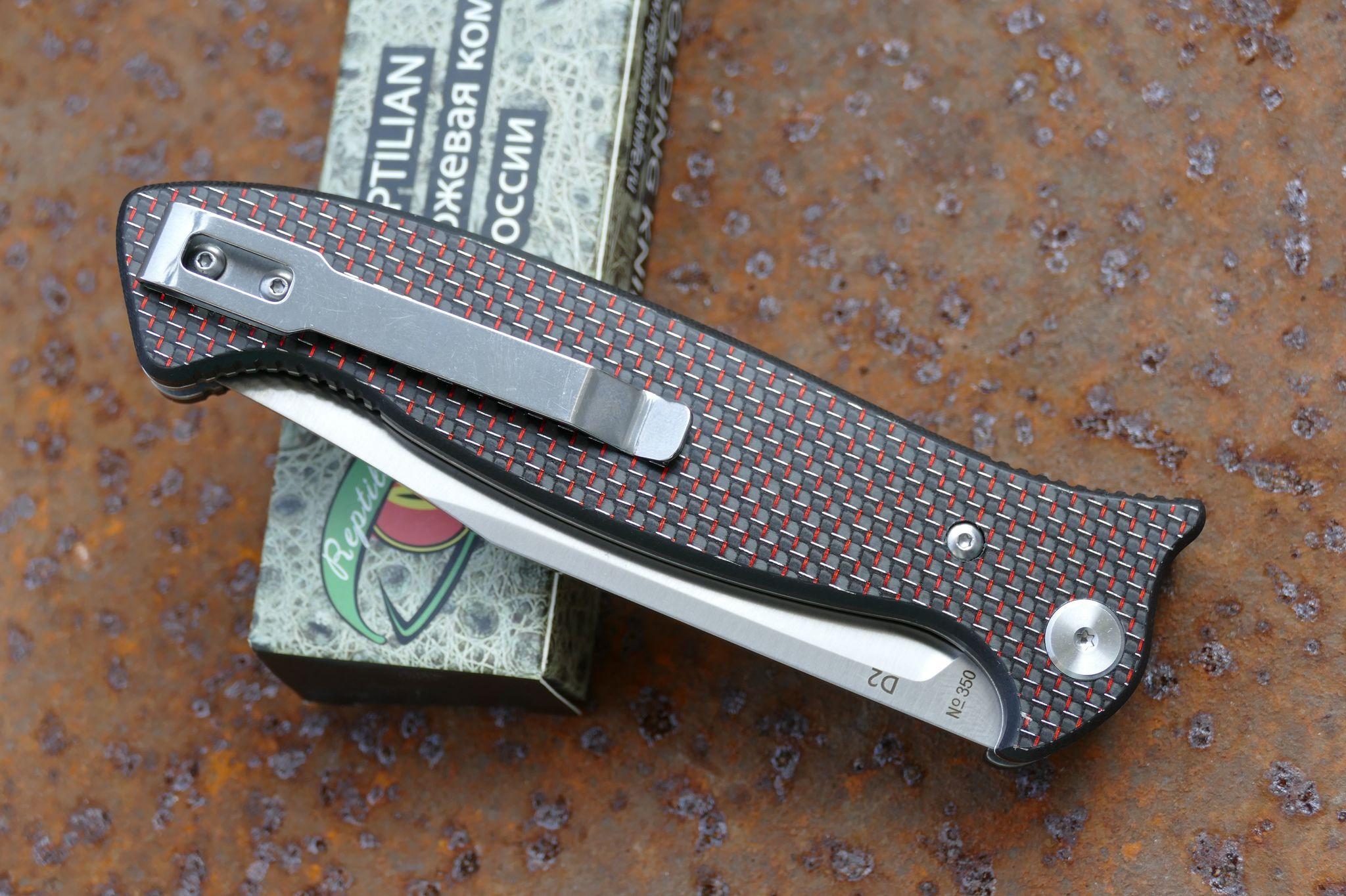Фото 10 - Складной Нож Разведчика, карбон красный от Reptilian