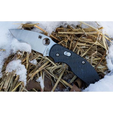 Нож складной Sage 3 - Spyderco 123CFBAP, сталь Crucible CPM® S30V™ Satin Plain, рукоять карбон/стеклотекстолит G10, чёрный. Вид 5