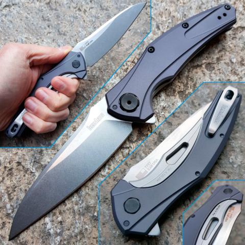 Нож складной Bareknuckle - Kershaw 7777, сталь Sandvik 14C28N, рукоять серый анодированный алюминий. Вид 1