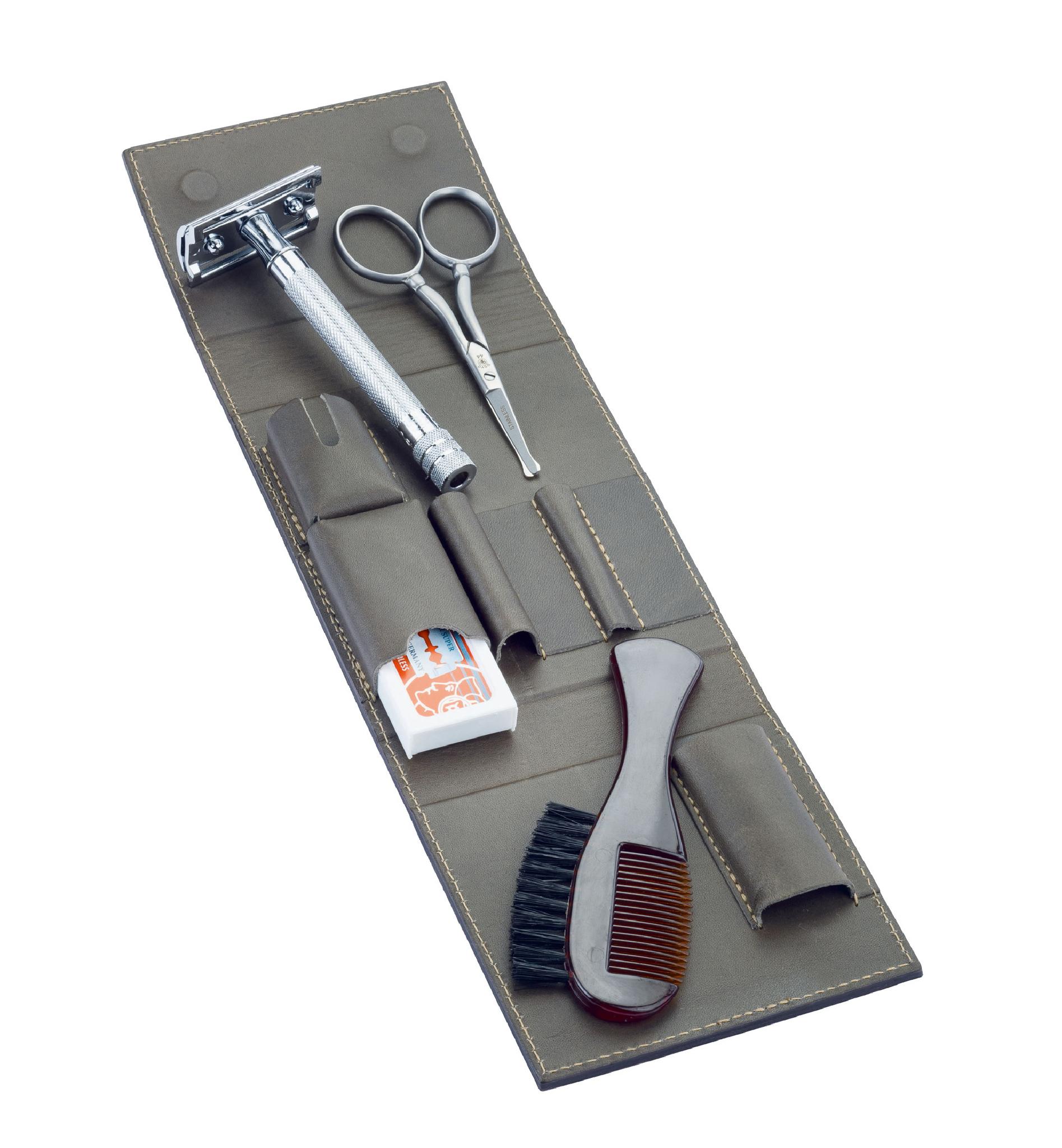 Набор бритвенный дорожный Dovo, 4 предмета, кожаный футляр