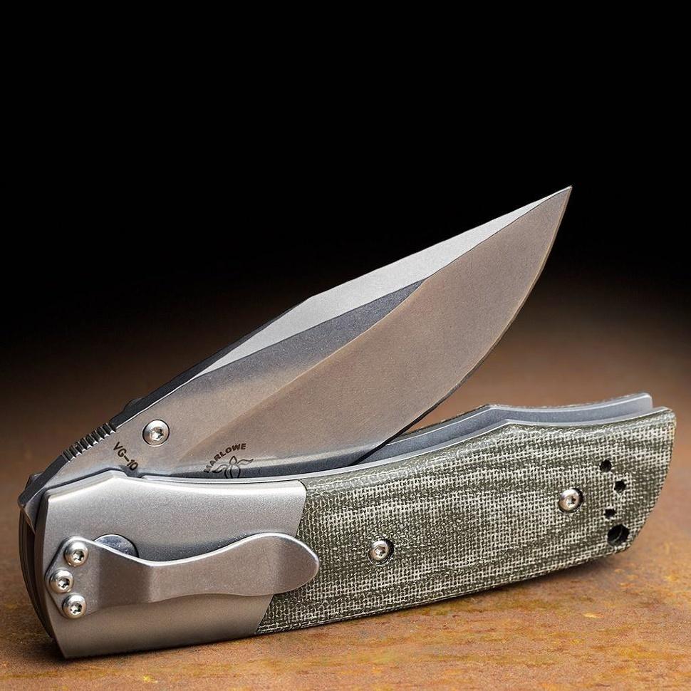 Фото 10 - Нож складной Boker Plus Bullpup, сталь клинка VG-10 Stonewashed Plain, рукоять микарта/титан, 01BO311
