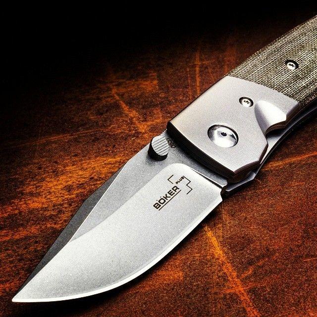 Фото 11 - Нож складной Boker Plus Bullpup, сталь клинка VG-10 Stonewashed Plain, рукоять микарта/титан, 01BO311