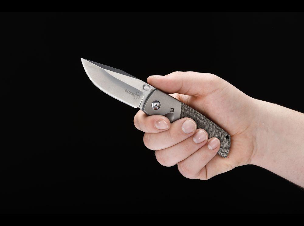 Фото 12 - Нож складной Boker Plus Bullpup, сталь клинка VG-10 Stonewashed Plain, рукоять микарта/титан, 01BO311