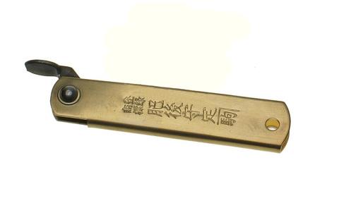 Нож складной Nagao Higonokami, HKA-50BW,  сталь Aogami, жёлтый, в кожаном чехле. Вид 3