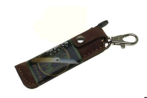Нож складной Nagao Higonokami, HKA-50BW,  сталь Aogami, жёлтый, в кожаном чехле. Вид 4