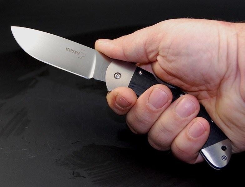Фото 14 - Нож складной 3000 Lightweight Boker Plus 01BO187, сталь 440С Satin Plain, рукоять титан/стеклотекстолит G10, чёрный