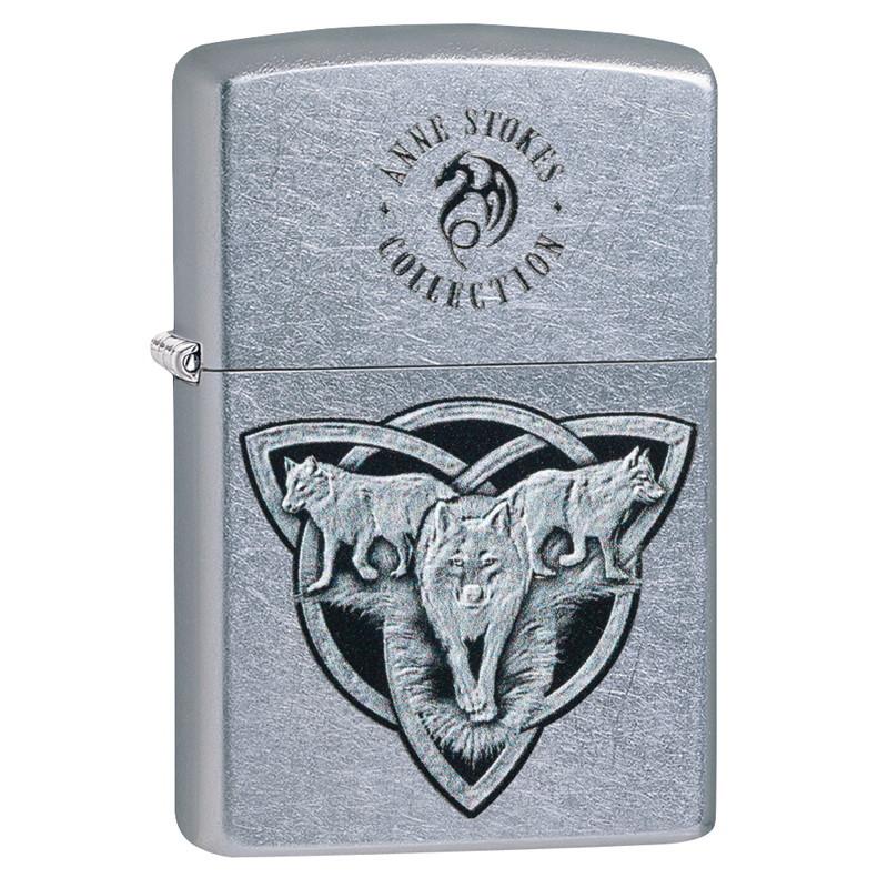 Зажигалка ZIPPO Triquetr Wolves Anne Stokes с покрытием Street Chrome™, латунь/сталь, серебристая, матовая, 36x12x56 мм