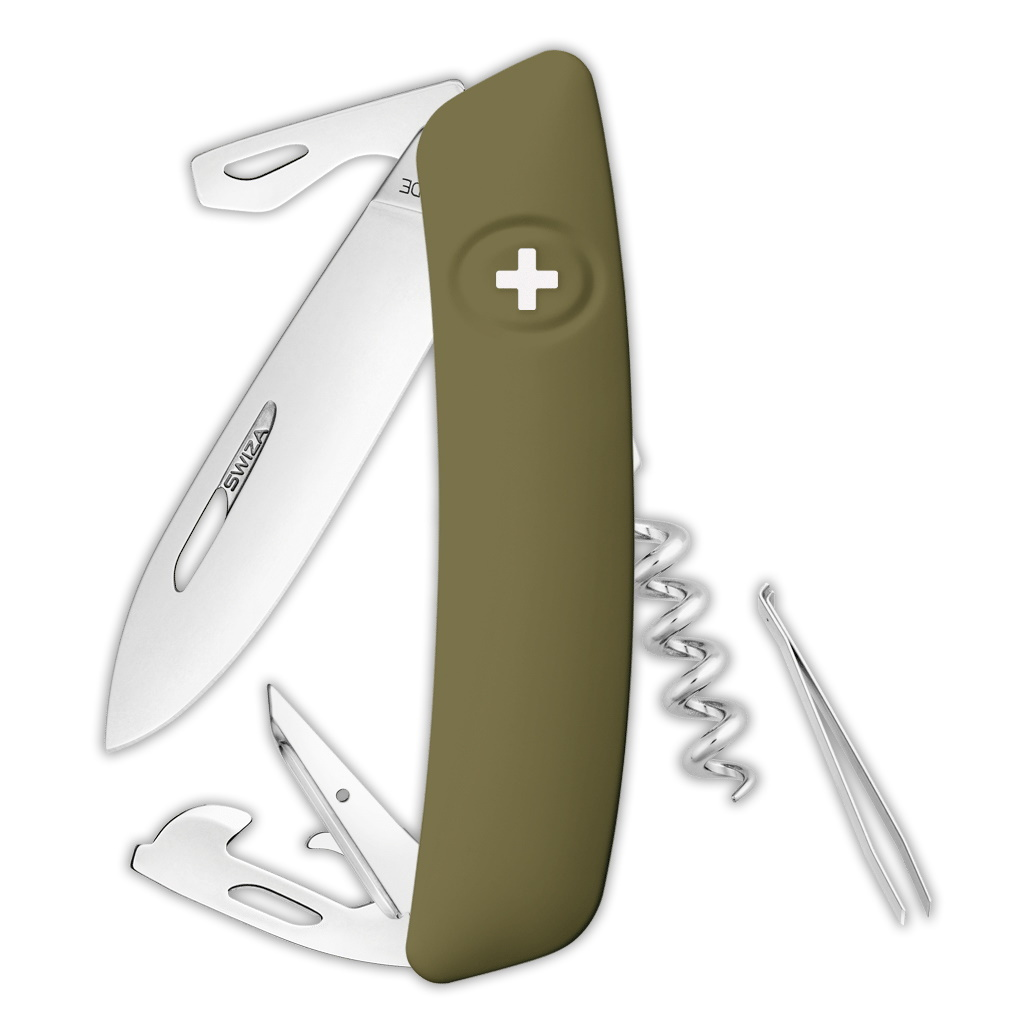 Швейцарский нож SWIZA D03 Standard, 95 мм, 11 функций, темно-зеленый