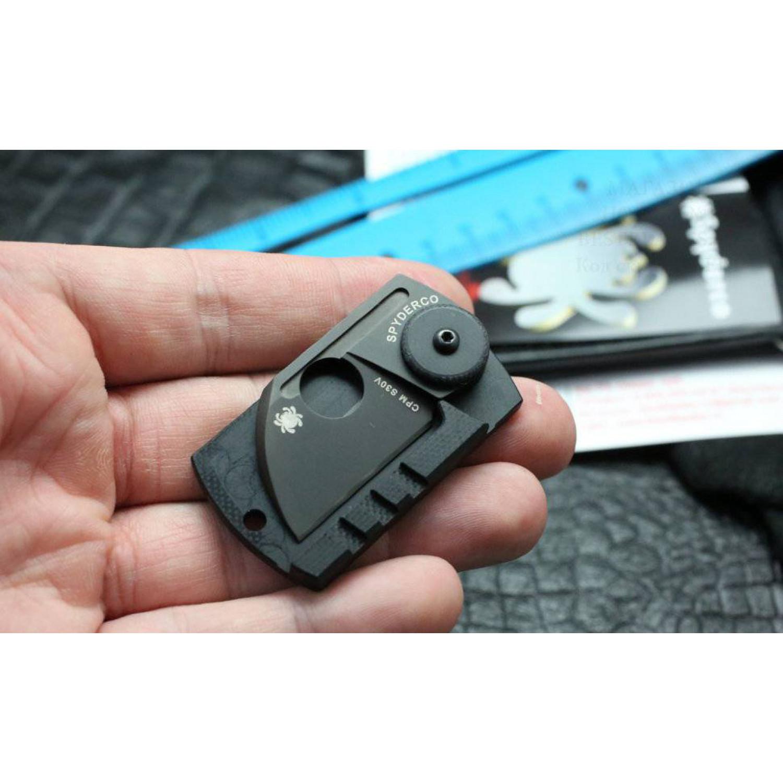 Фото 8 - Складной нож-брелок Dog Tag Folder Black - Spyderco 188CFBBKP, сталь CPM S30V TiNi coating, рукоять G10/карбон, чёрный