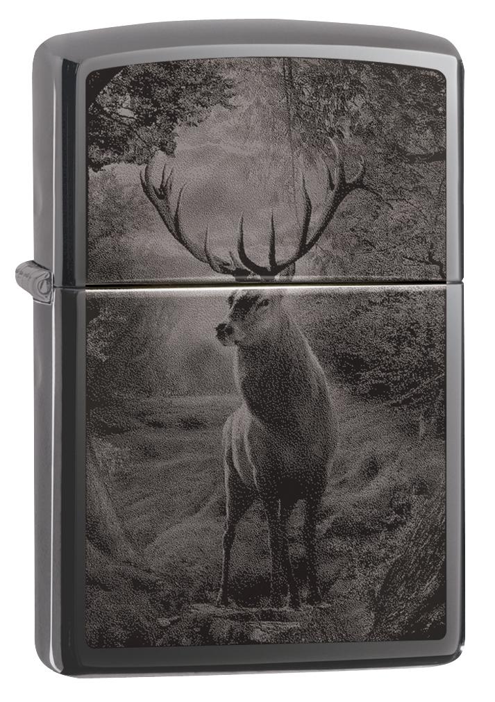 Зажигалка ZIPPO Classic Deer Design с покрытием Black Ice®, латунь/сталь, чёрная, глянцевая, 36х12х56 мм