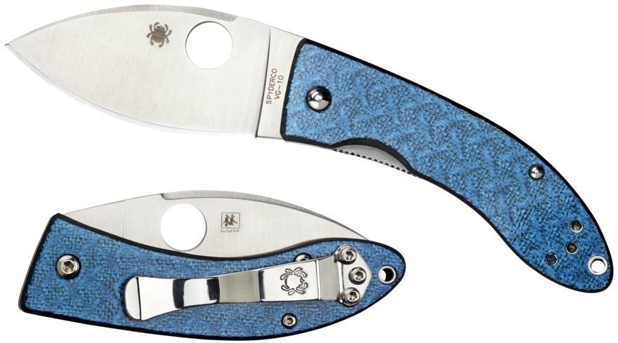 Фото 6 - Нож складной Spyderco Lil' Lum Blue Nishijin - 205GFBLP, сталь VG-10 Satin Plain, рукоять стекловолокно, синий