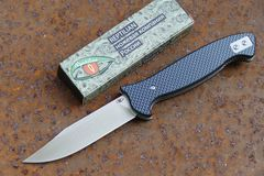 Складной Нож Разведчика, карбон синий