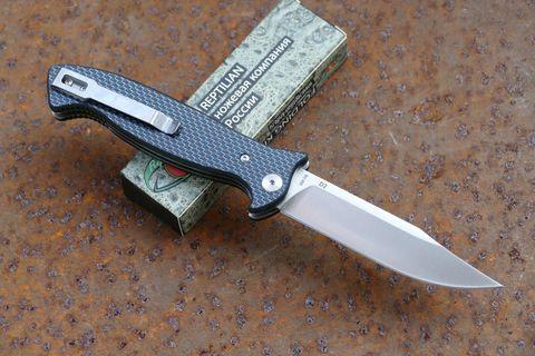 Складной Нож Разведчика, карбон синий. Вид 2