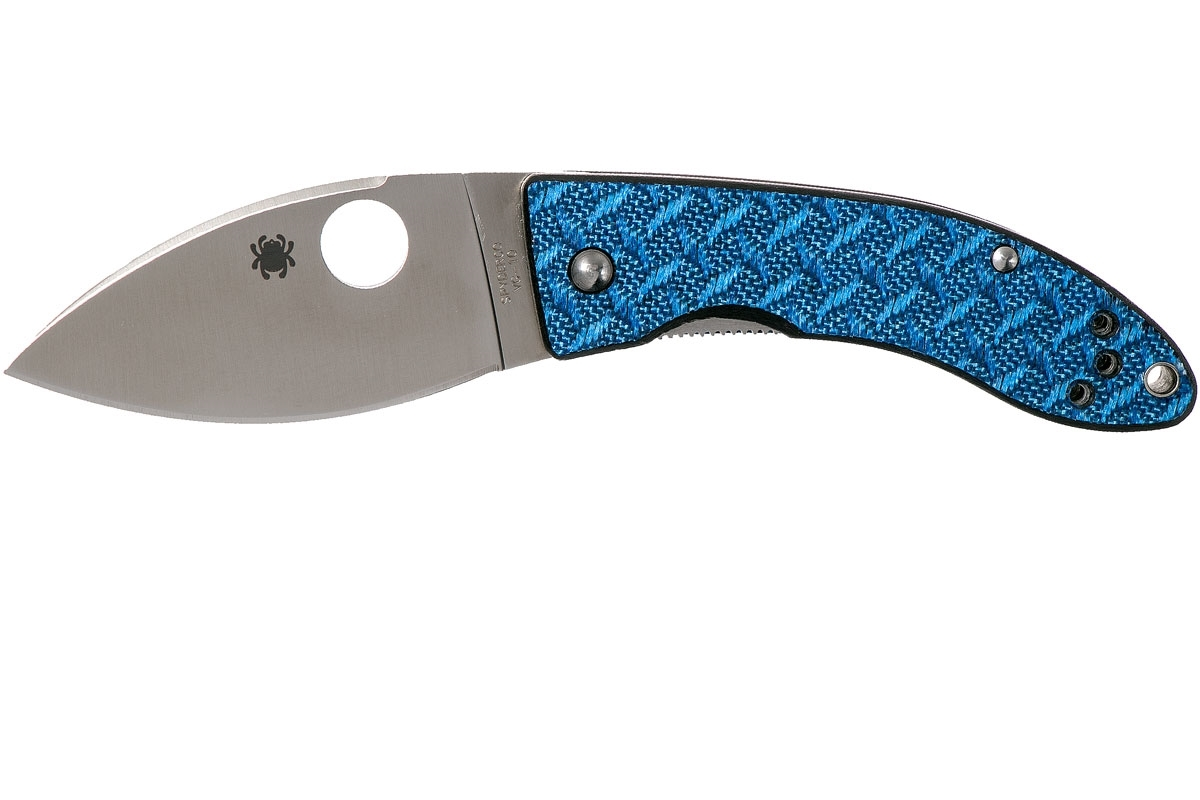 Фото 11 - Нож складной Spyderco Lil' Lum Blue Nishijin - 205GFBLP, сталь VG-10 Satin Plain, рукоять стекловолокно, синий