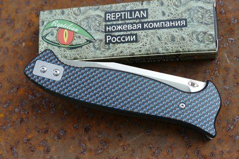 Складной Нож Разведчика, карбон синий. Вид 4