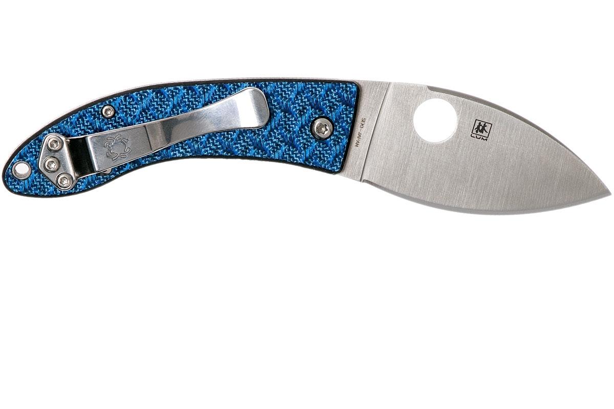 Фото 12 - Нож складной Spyderco Lil' Lum Blue Nishijin - 205GFBLP, сталь VG-10 Satin Plain, рукоять стекловолокно, синий