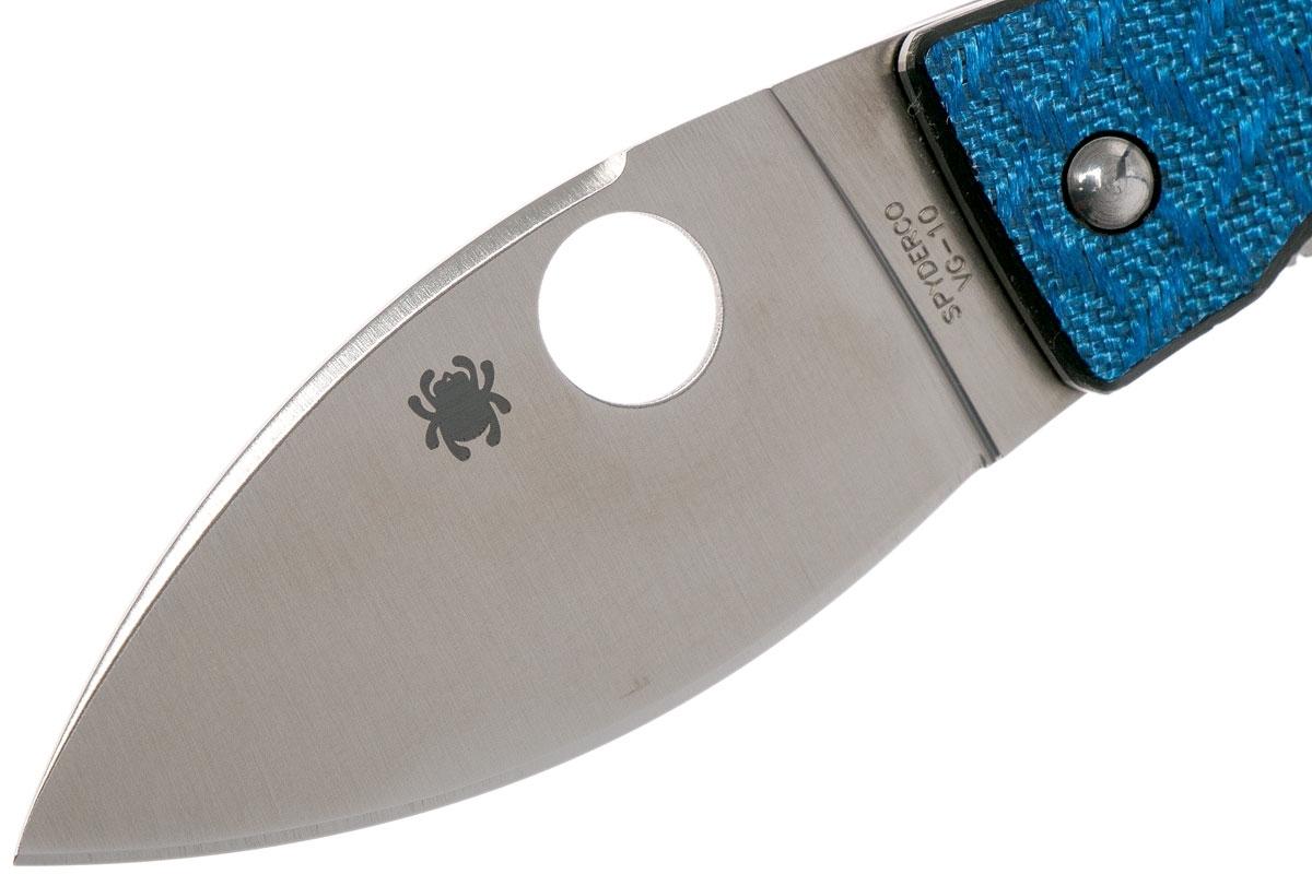 Фото 9 - Нож складной Spyderco Lil' Lum Blue Nishijin - 205GFBLP, сталь VG-10 Satin Plain, рукоять стекловолокно, синий