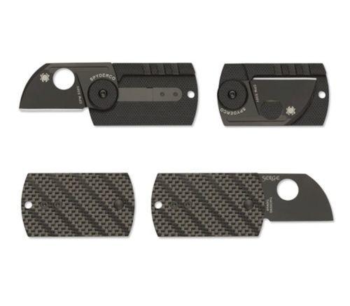 Фото 11 - Складной нож-брелок Dog Tag Folder Black - Spyderco 188CFBBKP, сталь CPM S30V TiNi coating, рукоять G10/карбон, чёрный